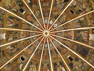 Parma Baptistery - The middle of the painted ceiling.