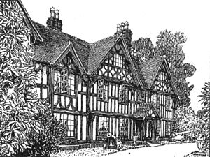Barnt Green - 'Barnt Green House', etching from the early 19th century.