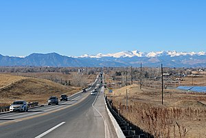 Baseline Road (Colorado) - Looking west along Baseline Road from Airport Road in Erie.