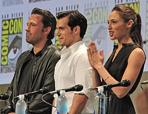 Gal Gadot - Ben Affleck, Henry Cavill, and Gadot at the San Diego Comic-Con panel for Batman v Superman: Dawn of Justice in 2014