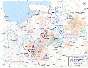 Battle of Tannenberg - Movements of 23–26 August 1914. Red: Germans, blue: Russians