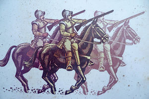 Battle of Inverkeithing - Dragoons illustrated on an information board at the site of the battle