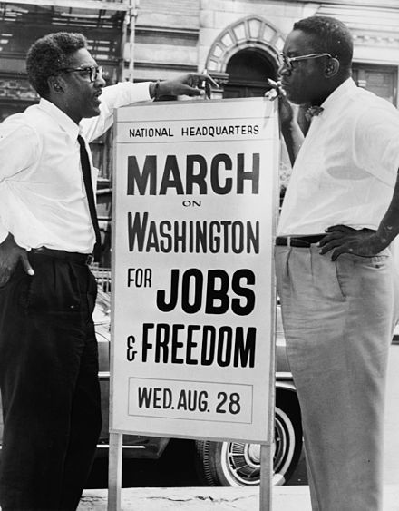 Bayard Rustin (left) and Cleveland Robinson (right), organizers of the March, on August 7, 1963 Bayard Rustin NYWTS 3.jpg