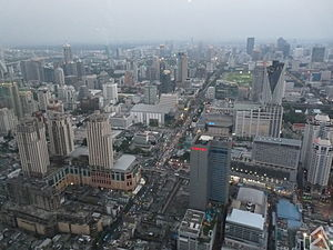 View of Bangkok streets from the Baiyoke Tower II.