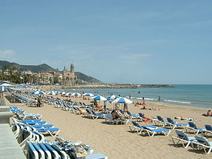 The beach at Sitges, Spain