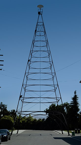 San Jose electric light tower - Half-size replica tower at History Park (2008)