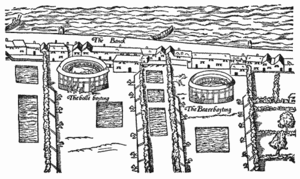 Bear-baiting - Bear and bull-baiting rings, Bankside, c.1560