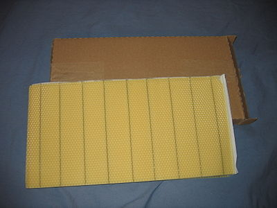 Sheet of foundation out of a cardboard box Beekeeping wax foundation.jpg
