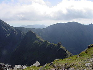 The Bones - The Bones seen from Beenkeragh. It is a sharp ridge. At the top-right of the picture is Caher.