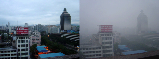 Beijing air on a 2005-day after rain (left) and a smoggy day (right) Beijing smog comparison August 2005.png