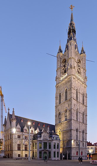 Belfry of Ghent - Belfry of Ghent, St Bavo's Cathedral in the background