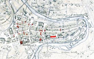 Herrengasse (Bern) - Old City of Bern with Herrengasse highlighted