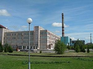 Beryozovskaya GRES - Beryozovsk power plant behind administrative building
