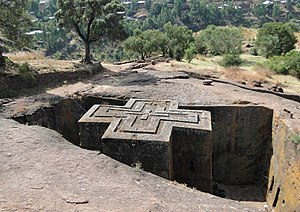 Lalibela - The Church of Saint George, one of many churches hewn into the rocky hills of Lalibela