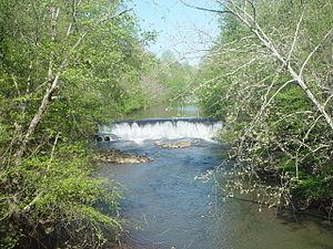 Chattahoochee River National Recreation Area - Vickery Creek Dam at Oxbo Road entrance of Vickery Creek unit