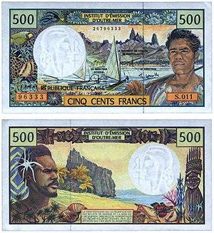 CFP franc - Image: Billet 500 xpf