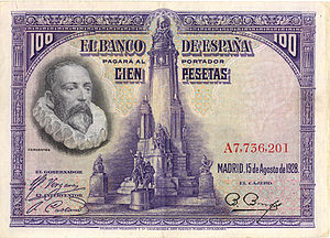 Cervantes portrait and Cervantes monument on a Spanish 1928 100 Pesetas banknote (Source: Wikimedia)