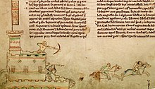 A drawing in the borders of a manuscript of an archer in a tower shooting at a horse-back rider
