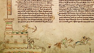 Rochester Castle - An early 13th-century drawing by Matthew Paris showing contemporary warfare, including the use of castles, crossbowmen and mounted knights