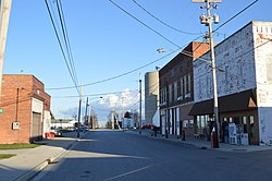 Blaine Street, downtown.  Paulding County is to the left, and Van Wert County to the right.