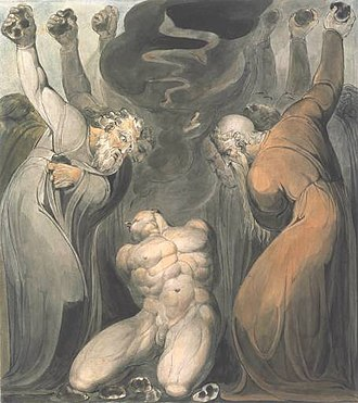 Book of Leviticus - The Blasphemer (ink and watercolor, circa 1800, by William Blake)