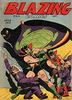Blazing Comics, July 1944, No. 2 featuring The Green Turtle, by Chu F. Hing
