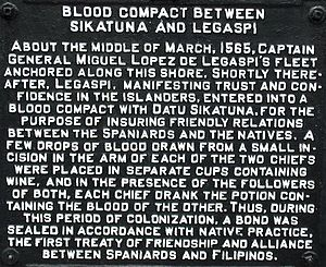 Sandugo - Inscription on a plaque on the Blood Compact Marker at the Blood Compact Shrine, Bool District, Tagbilaran City