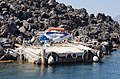 Boat launch - garbage - Nea Kameni volcanic island - Santorini - Greece - 01.jpg