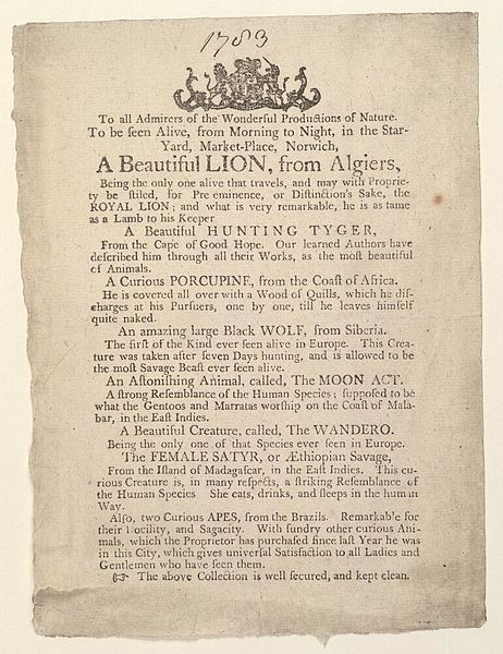 File:Bodleian Libraries, Advertisement of Star-Yard, 1783, announcing A beautiful lion, from Algiers.jpg
