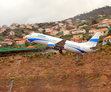 Aircraft registration SP-ENH Boeing 737, low cost polish aerolines Enter Air taking off from Madeira Funchal Airport, Madeira