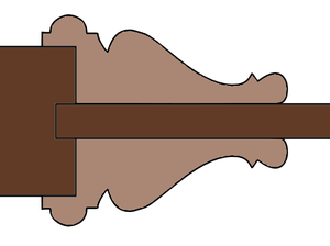 Bolection - Cross-section of an ornate bolection moulding hiding the edges of a recessed panel