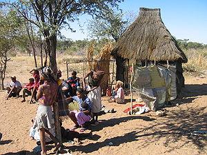 Nederzetting van een paar families Bosjesmanne...