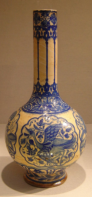 Bottle - Composite body, painted, and glazed bottle. Dated 16th century. From Iran. New York Metropolitan Museum of Art.