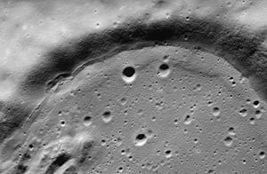 """Bowditch (crater) - Oblique view of southwestern rim of Bowditch, showing """"strand line"""" and terrace caused by receding lava"""