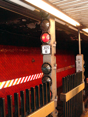 Signaling of the New York City Subway - A modern, un-renovated subway signal at Bowling Green station.