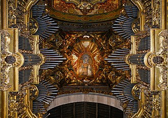 Braga Cathedral - Organ and ceiling of the High Choir; in the middle a depiction of the marriage of the Virgin Mary and Saint Joseph.