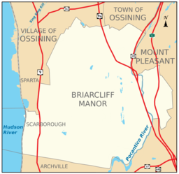 Boundaries of and major thoroughfares through Briarcliff Manor.
