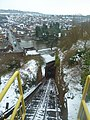 Bridgnorth Cliff Railway, looking downhill on a snowy day.jpg