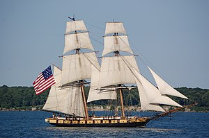 English: The Brig Niagara under full sail, off...