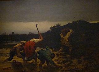 Récolte des pommes de terre pendant l'inondation du Rhin en 1852