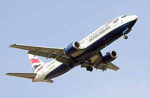 A British Airways Boeing 737-400 over London Heathrow