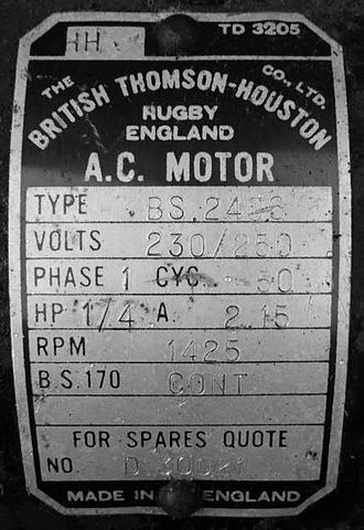 British Thomson-Houston - Showing correct company name and format