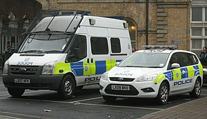 English: Two BTP vehicles