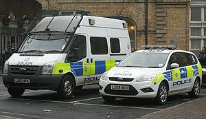 English: Two BTP vehicles
