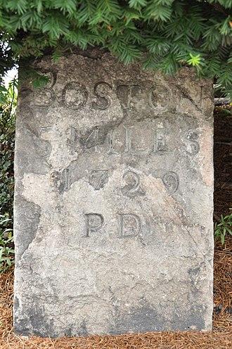 1767 Milestones - Image: Brookline MA Milestone 5