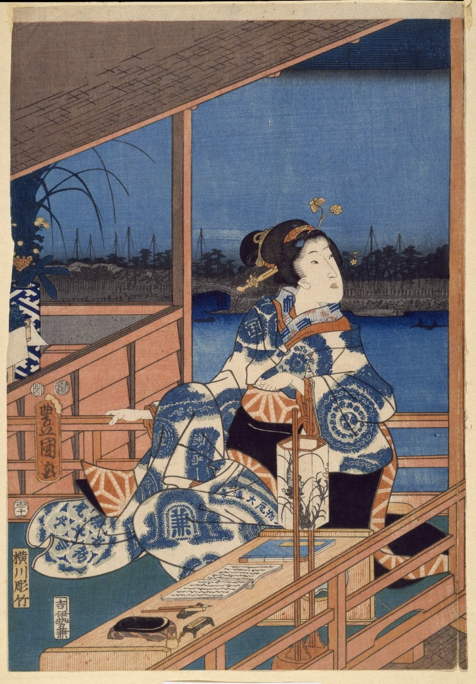 Brooklyn Museum - Moonlight View of Tsukuda with Lady on a Balcony - Utagawa Hiroshige (Ando)