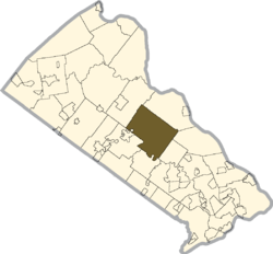 Location of Buckingham Township in Bucks County