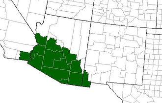 Colorado River toad - Range of Incilius alvarius in the United States (it also inhabits northwest Mexico)