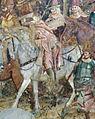 Buffalmacco, trionfo della morte, incontro dei tre vivi coi tre morti 13 cavaliere.jpg