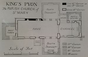 King's Pyon Church - Hand copy of an image found in the Royal Commission on the Historical Monuments of England